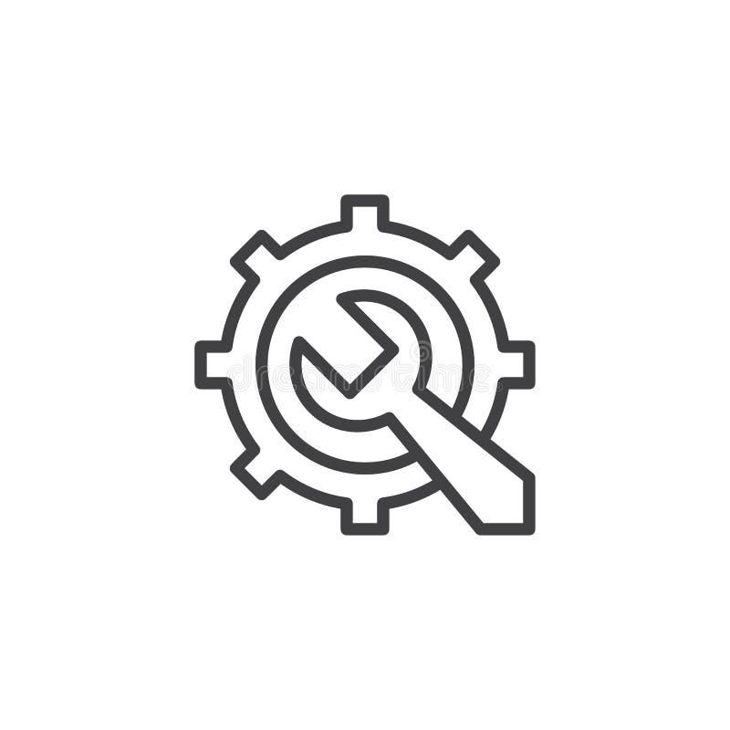 Przekładni i wyrwania konturu ikona ilustracji