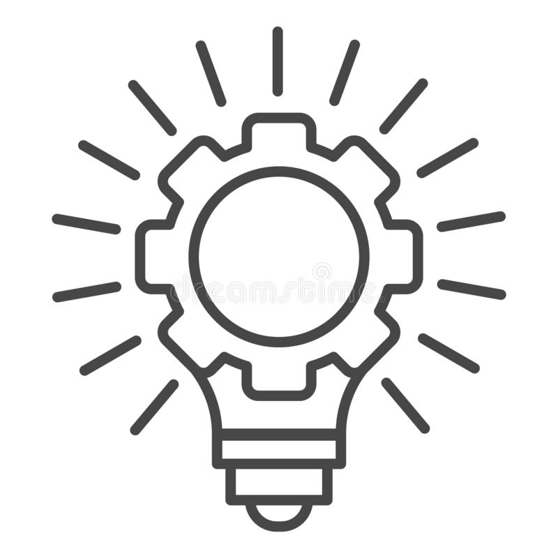 Przekładni koła żarówki pomysłu ikona, konturu styl ilustracja wektor