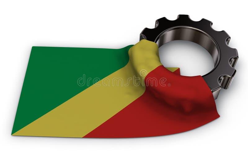 Przekładni koło i flaga Congo royalty ilustracja