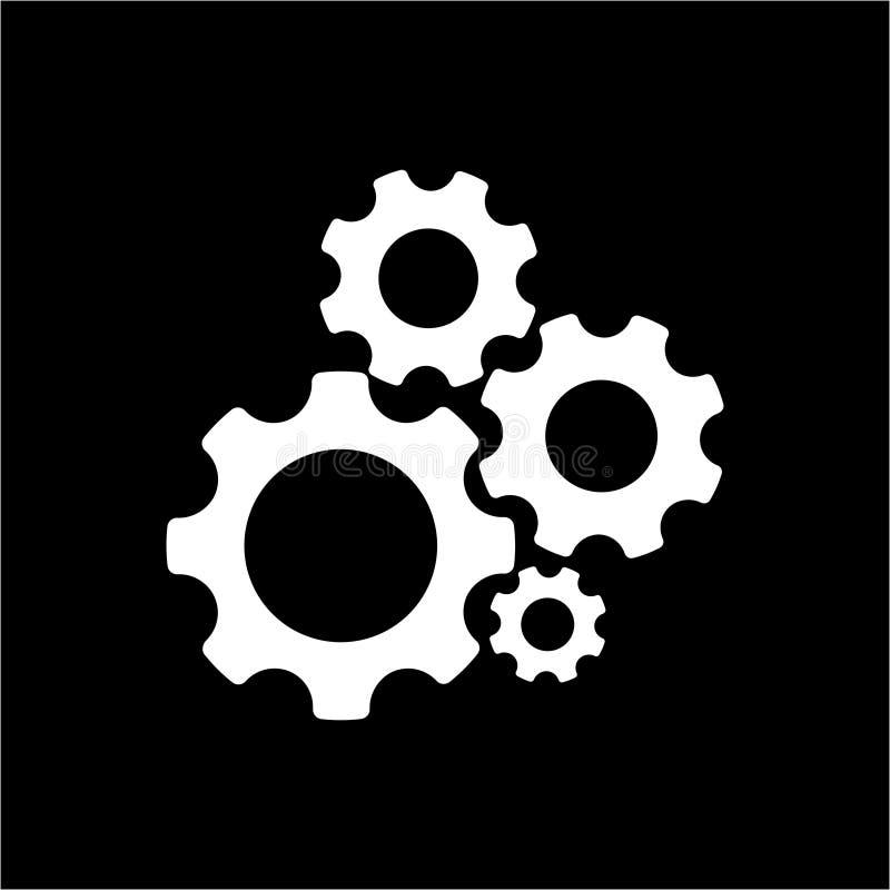 Przekładni lub cog wektorowa ikona symbolizuje położenie w czarnym tle ilustracja wektor