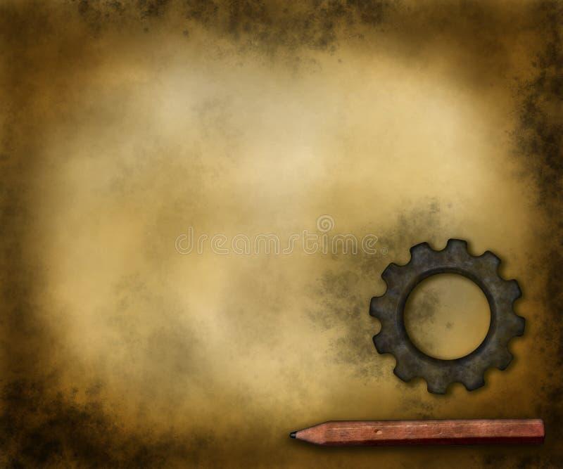 Przekładni pióro i koło ilustracja wektor