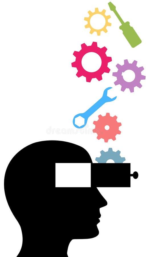 przekładni pomysłu wymyślenia osoby technologii myśli narzędzia ilustracji