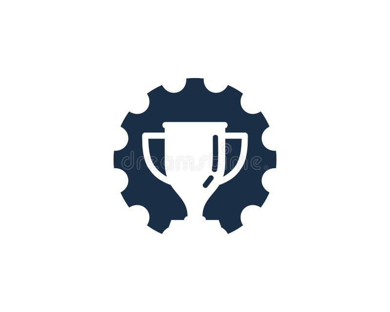 Przekładni trofeum ikony loga projekta Narzędziowy element ilustracja wektor