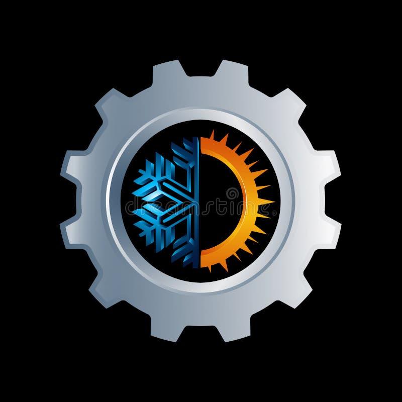 Przekładnia Gorący i zimny round znaka logo Temperatury balansowa ikona słońce ilustracja wektor