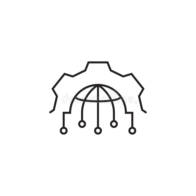 Przekładnia, kula ziemska, ustawia ikonę Znaki i symbol ikona mogą używać dla sieci, logo, mobilny app, UI, UX royalty ilustracja