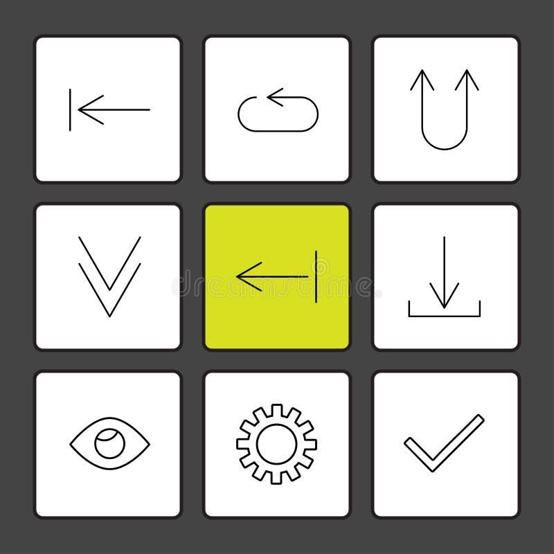 przekładnia, oko, cwelich, strzała, kierunki, avatar, ściąganie, w górę ilustracja wektor