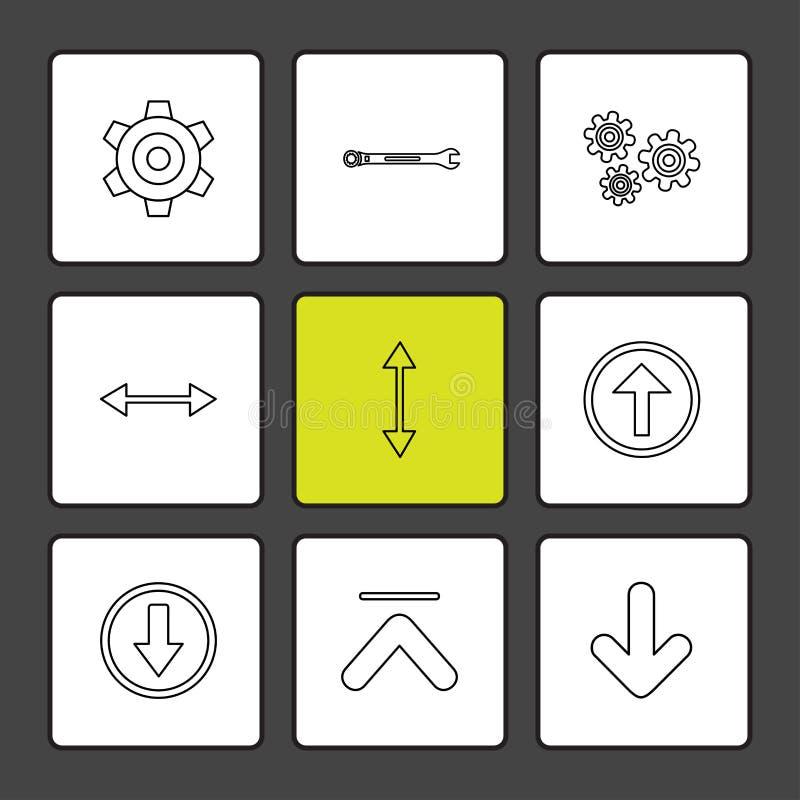 przekładnia, położenie, wyrwanie, strzała, kierunki prawi, lewy, p ilustracja wektor