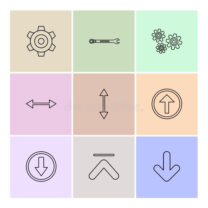 przekładnia, położenie, wyrwanie, strzała, kierunki prawi, lewy, p royalty ilustracja