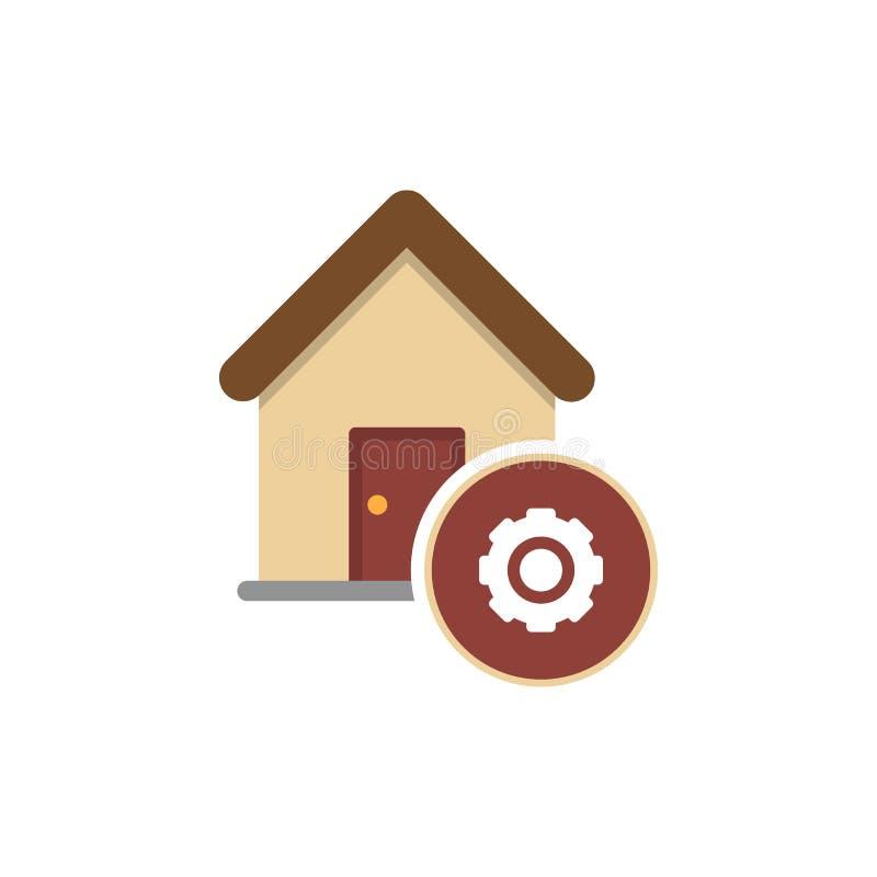 Przekładnia toczy wewnątrz domowego ikona wektor ilustracji