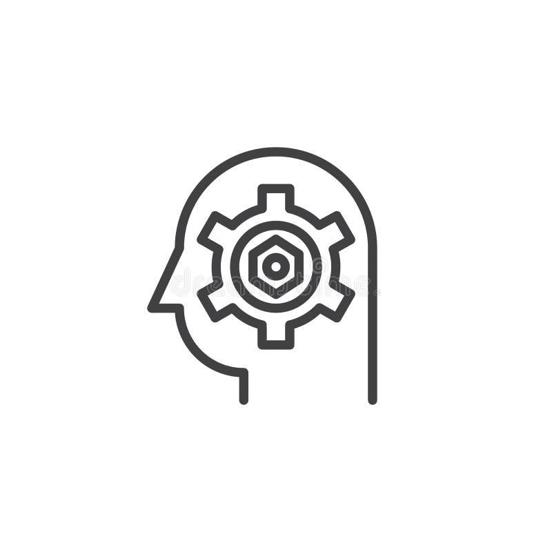 Przekładnia w kierowniczej kontur ikonie royalty ilustracja