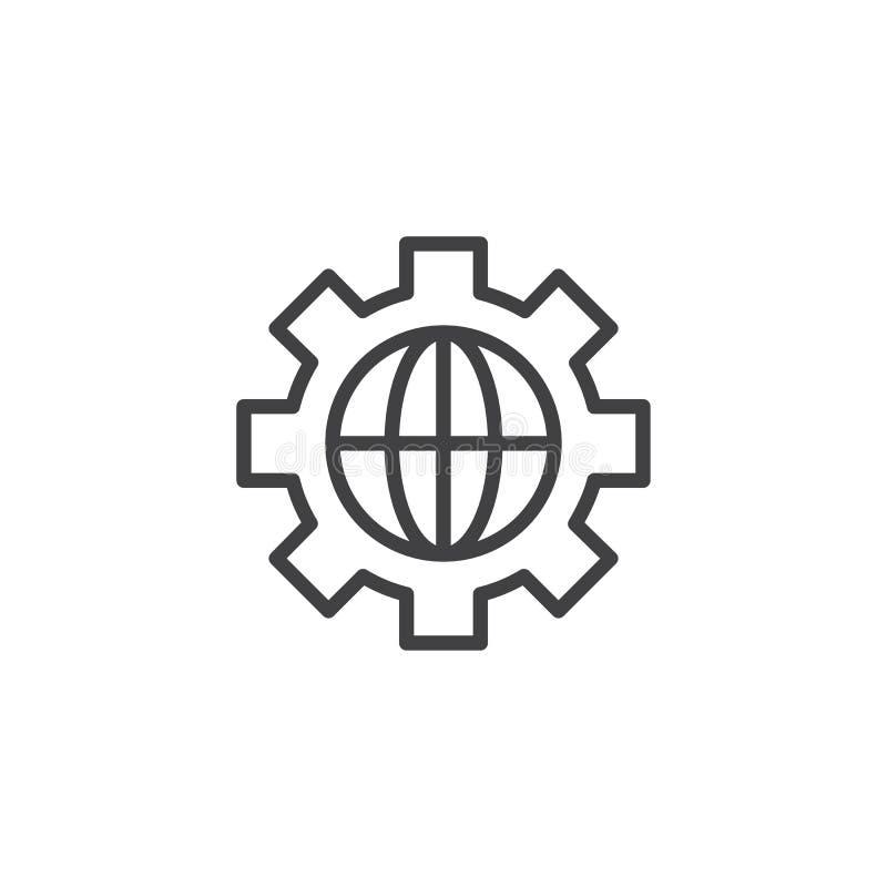 Przekładnia z kula ziemska konturu ikoną ilustracja wektor