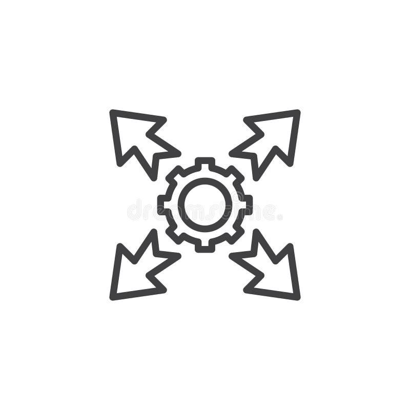 Przekładnia z strzały kreskową ikoną ilustracja wektor