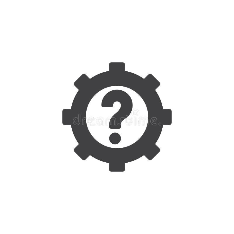 Przekładnia z znak zapytania wektoru ikoną ilustracji