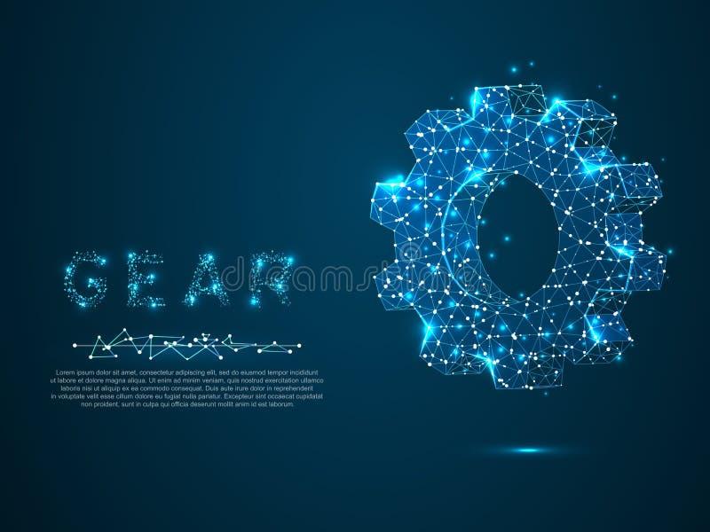 Przekładnie Przemysłu rozwój, parowozowa praca, biznesowy pojęcie Machinalnej technologii inżynierii maszynowy symbol wektor royalty ilustracja