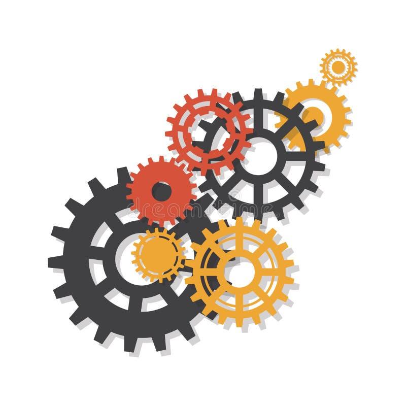 Przekładnie, trundles i cogwheels, maszynowy mechanizm Wektorowy tło ilustracja wektor