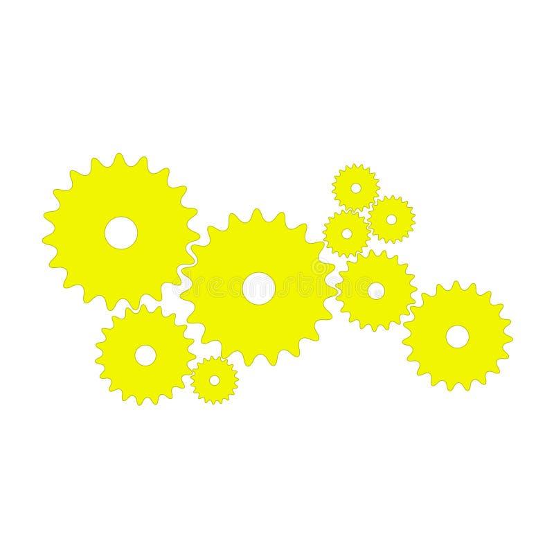 Przekładnie w żółtym projekcie ilustracja wektor