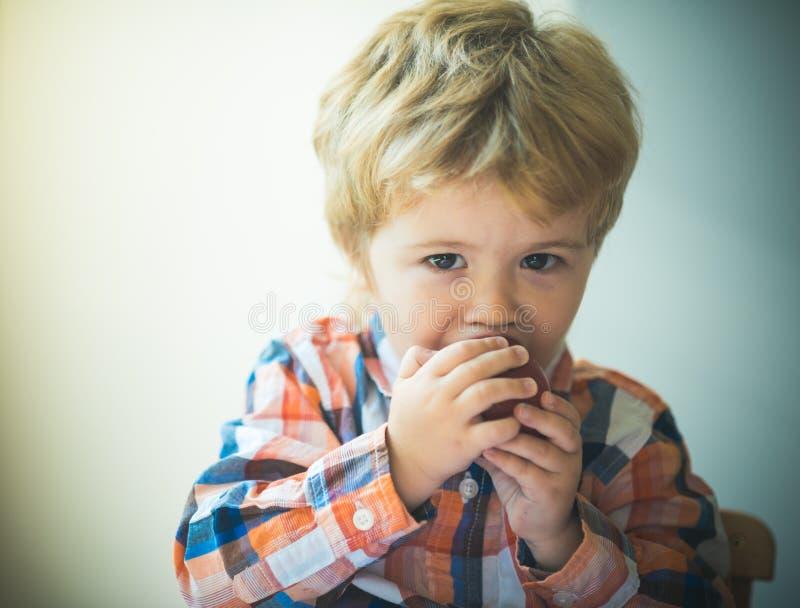 przek?ska ch?opcy jab?kowy jedzenie jedz?c owoce dziecka Czerwony jab?czany gryzienie Małe dziecko chłopiec portret, je czerwoneg fotografia royalty free
