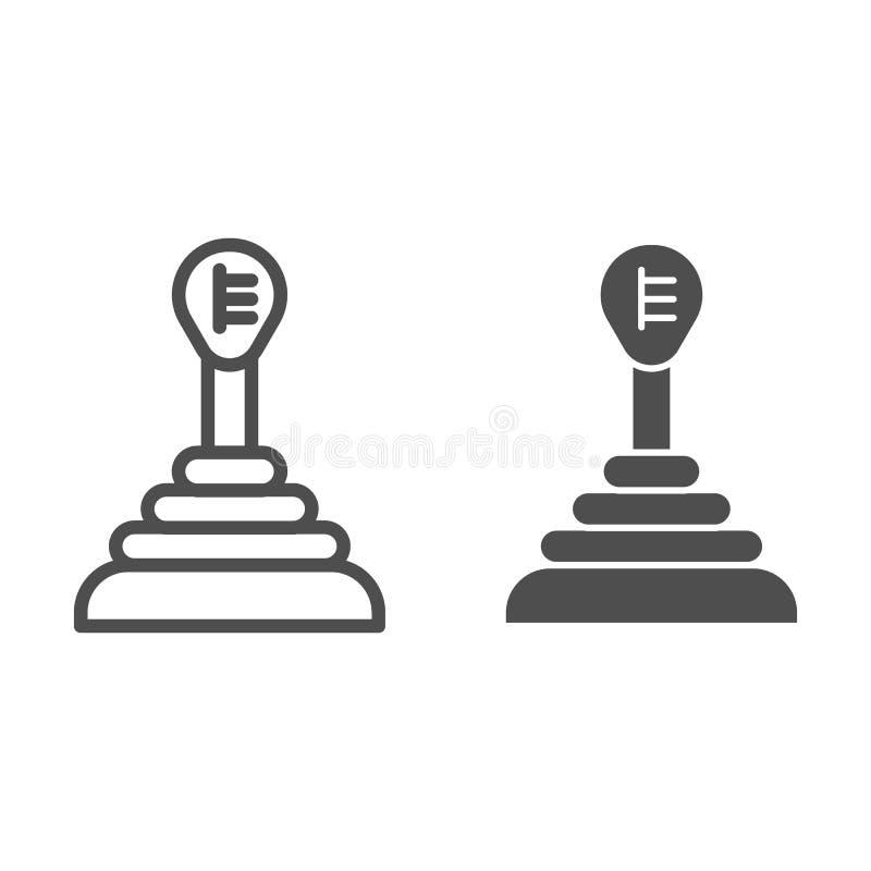 Przekaz linia i glif ikona Przekładni przesunięcia wektorowa ilustracja odizolowywająca na bielu Samochodowy gearbox konturu styl royalty ilustracja