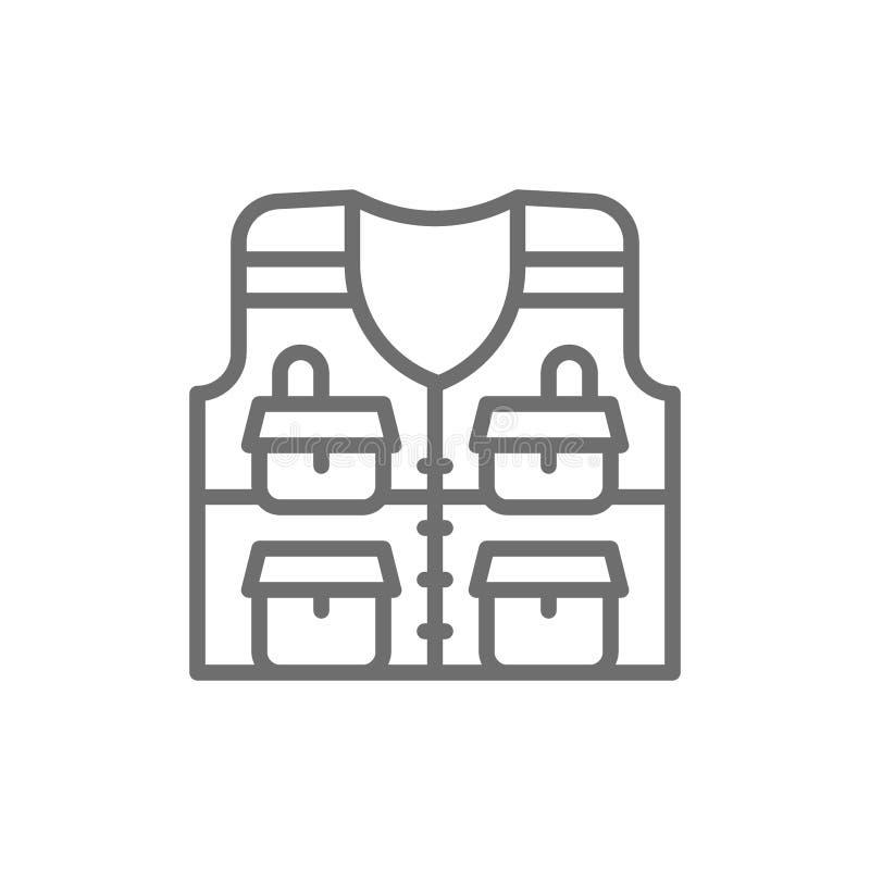 Przekazuje z kieszeniami, łowi kurtki linii ikonę ilustracja wektor