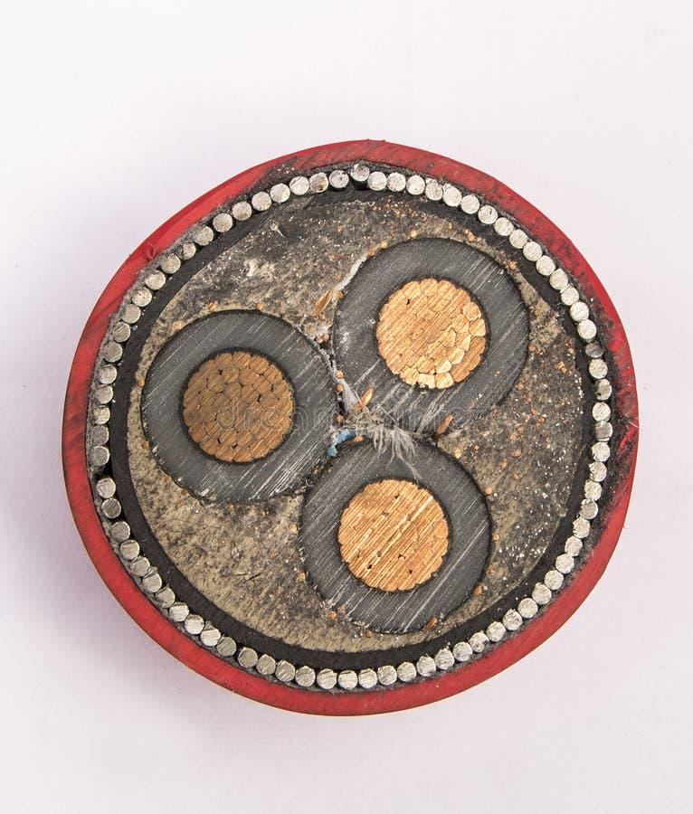 Przekrój poprzeczny woltażu kabel zdjęcie stock