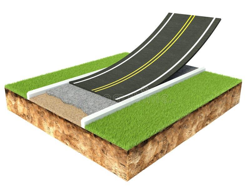 Przekrój poprzeczny asfaltowej drogi brukowanie odizolowywający na bielu royalty ilustracja