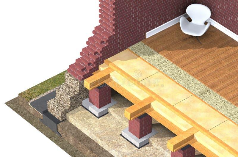 Przekrój poprzeczny cegła dom ilustracja wektor