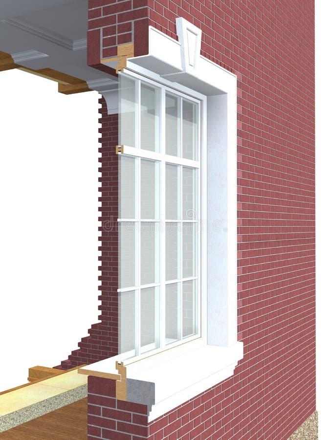 Przekrój poprzeczny drewniany okno ilustracji