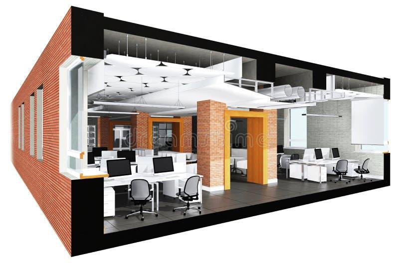 Przekrój poprzeczny powierzchnia biurowa royalty ilustracja