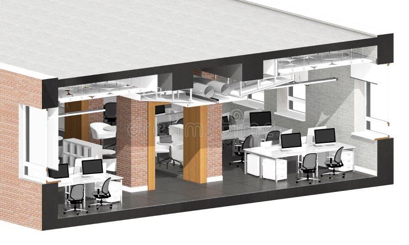 Przekrój poprzeczny powierzchnia biurowa ilustracja wektor