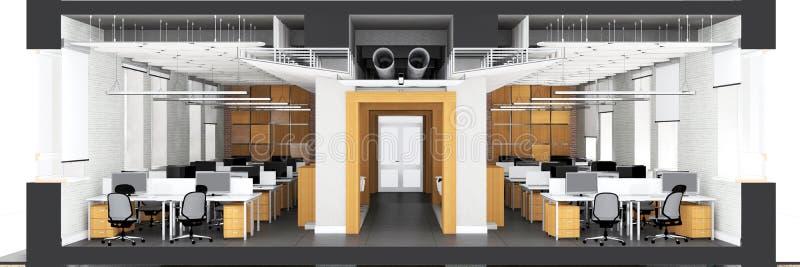 Przekrój poprzeczny powierzchnia biurowa ilustracji