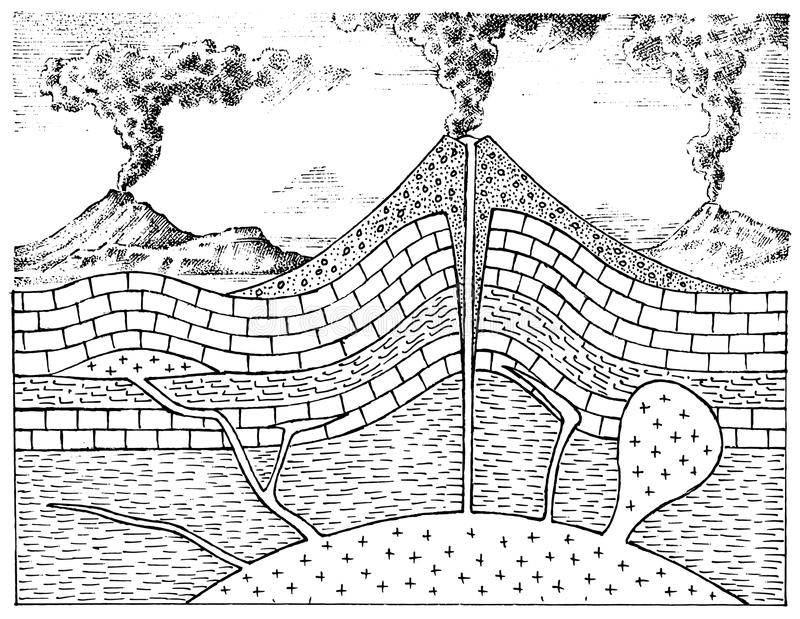 Przekrój poprzeczny wulkan Grawerować góry ręka rysujący geologia rocznika styl Krateru i magmy sala, rożek i ilustracja wektor