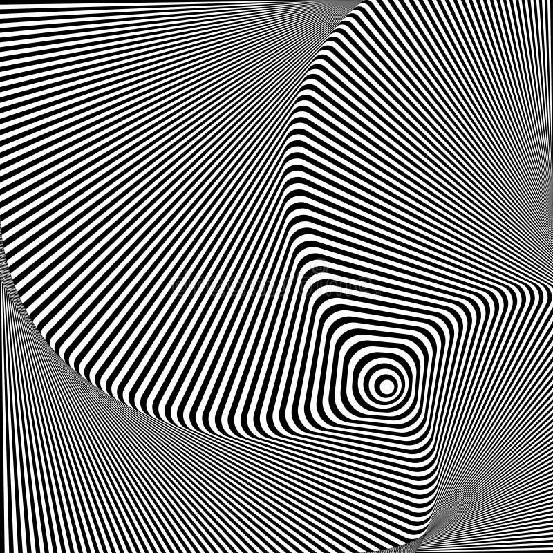 przekręcający abstrakcjonistyczny tło Okulistyczny złudzenie zniekształcająca powierzchnia Kręceni lampasy Promieniowy wzór royalty ilustracja