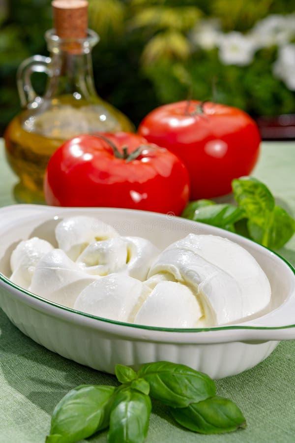 Przekr?ca tworzy? plecenia treccia mozzarelli W?oskiego mi?kkiego ser s?uzy? z ?wie?ym basilem i pomidorami zdjęcie stock