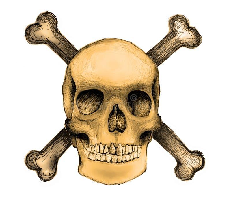 przekraczają kości czaszki royalty ilustracja
