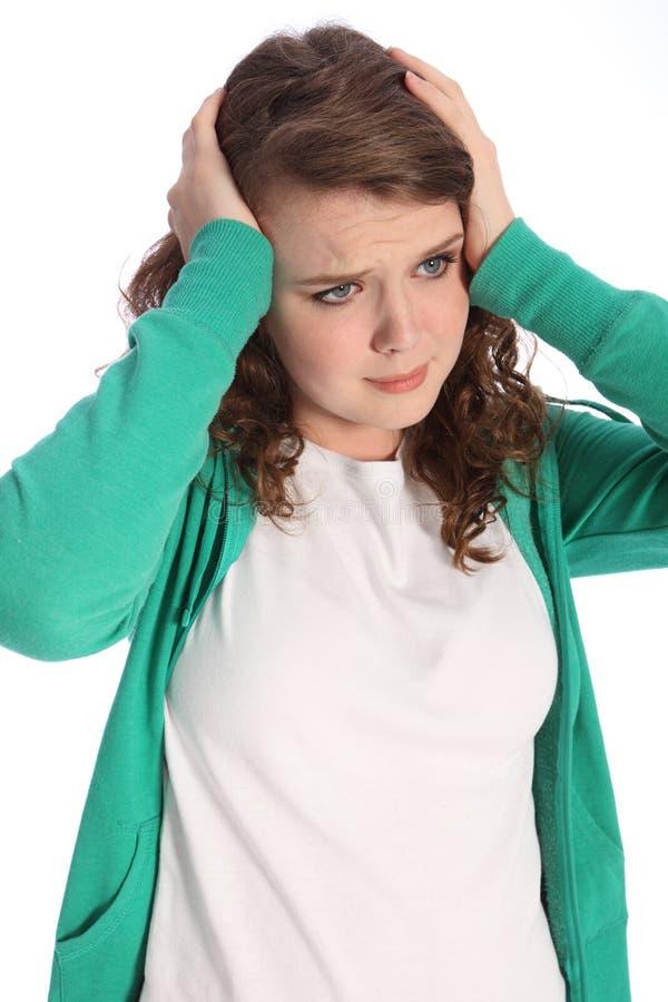 przelękłej dziewczyny zaakcentowany nastolatek niepokojący zdjęcie stock