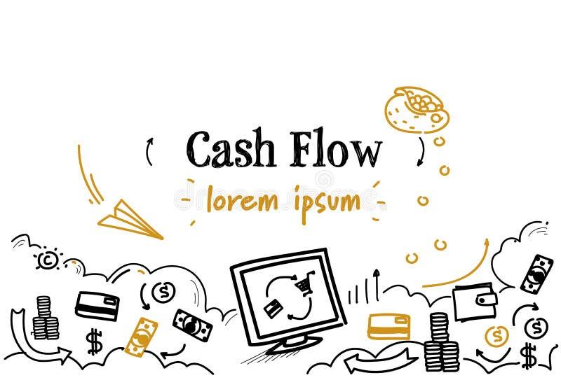 Przelewu pieniędzego przepływu gotówkiego pojęcia nakreślenia doodle kopii horyzontalna odosobniona przestrzeń ilustracji