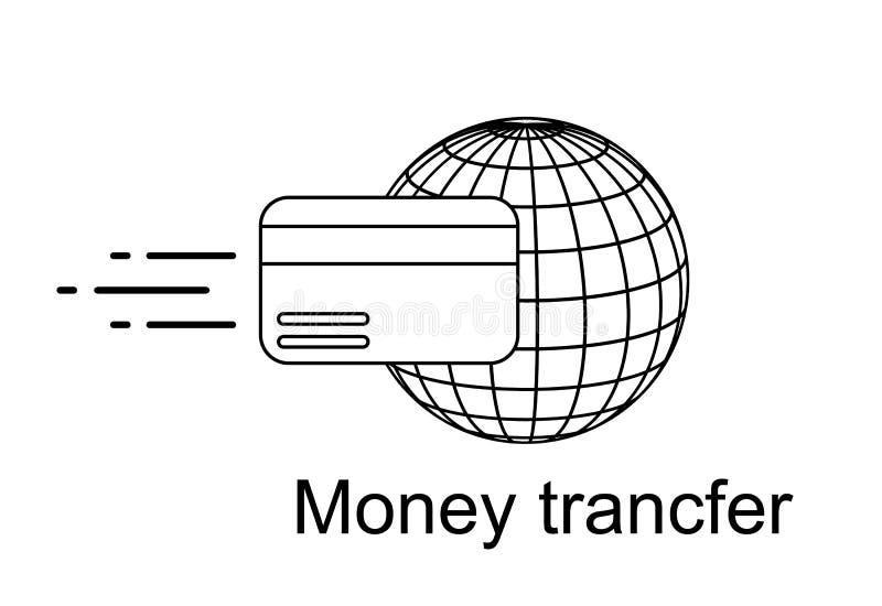 Przelewy pieniędzy po na całym świecie ikona Wektor akcyjna ilustracja odizolowywająca na białym tle ilustracji