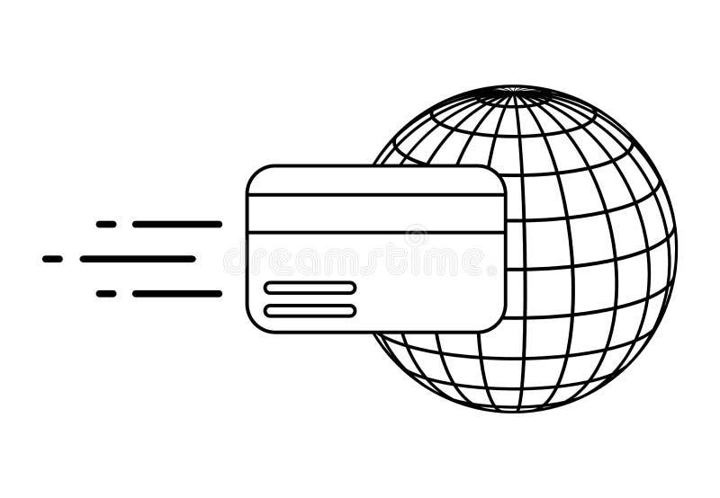 Przelewy pieniędzy po na całym świecie Wektorowa ilustracja odizolowywająca na biały tle ilustracji