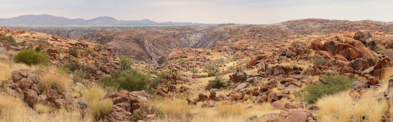Przelotne spojrzenie Pomarańczowa Rzeczna dolina w odległości, Augrabies Spada park narodowy, Południowa Afryka obraz stock