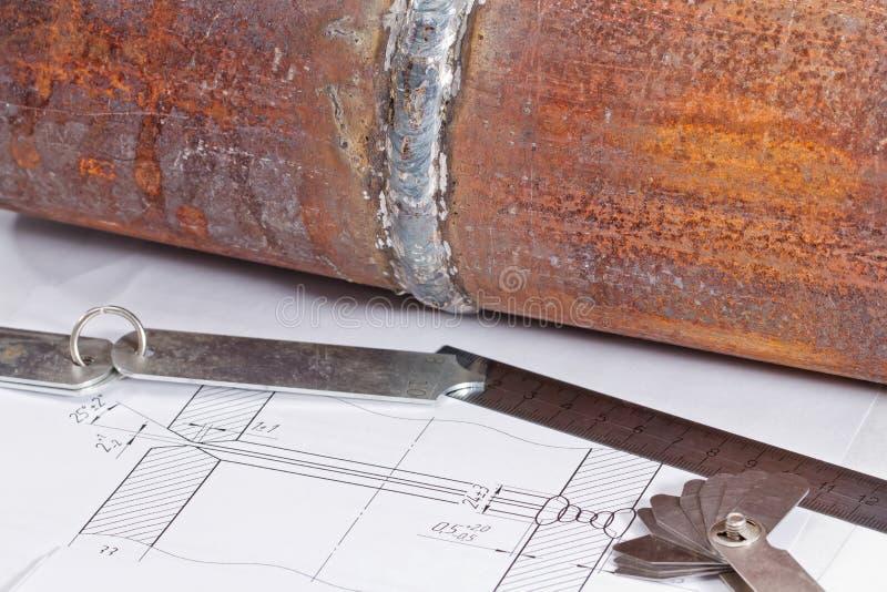 Przemiana od stali nierdzewnej i narzędzi dla projekta i measuri zdjęcie stock