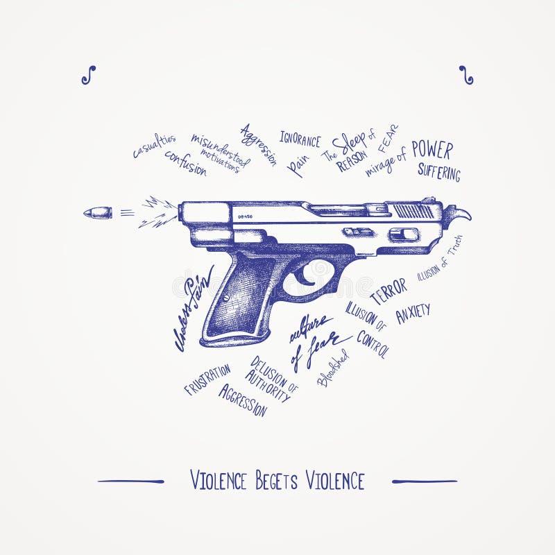 Przemoc rodzi przemoc ilustracja wektor