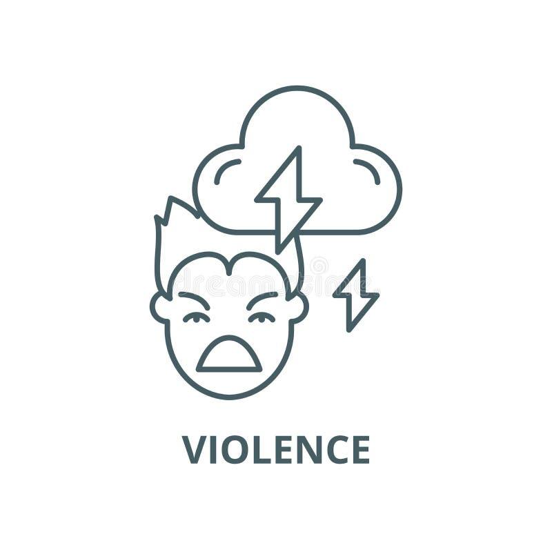 Przemoc wektoru linii ikona, liniowy pojęcie, konturu znak, symbol ilustracji