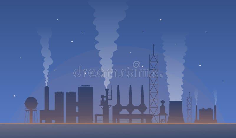 Przemysłowy krajobraz z fabrycznym zanieczyszczeniem Powietrze zanieczyszczająca środowisko wektoru ilustracja globalne ociepleni ilustracji