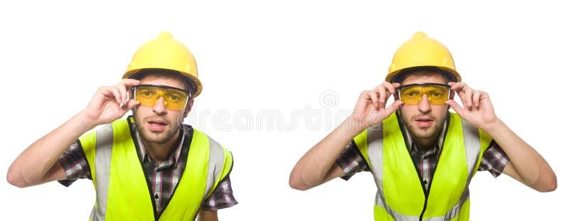 Przemysłowy pracownik odizolowywający na bielu obrazy stock