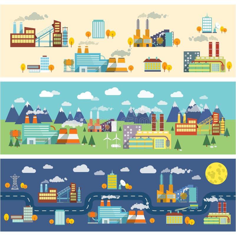 Przemysłów budynków horyzontalni sztandary royalty ilustracja