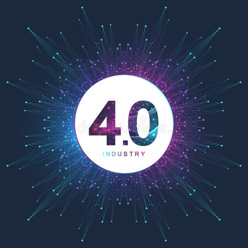Przemysł 4 0 futurystyczny baner, logo, ikona Wirtualny przemysł 4 0 i Machine Learning Nowoczesna technologia cybernetyczna ilustracja wektor