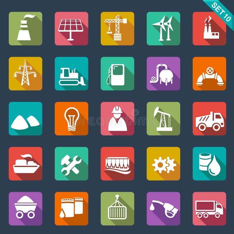 Przemysł ikony - płaski projekt ilustracji