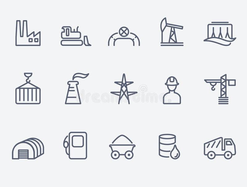 Przemysł ikony set ilustracji