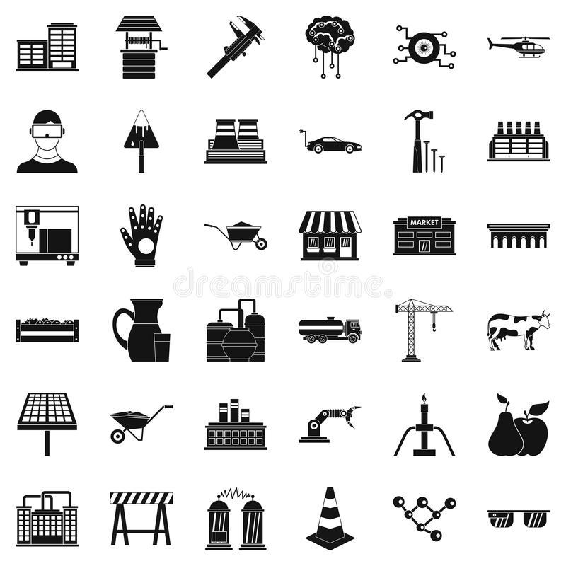 Przemysł ikony ustawiać, prosty styl royalty ilustracja