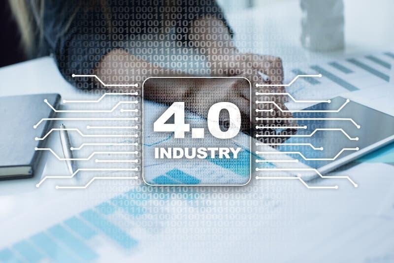 4 przemysł IOT Internet rzeczy Mądrze rękodzielniczy pojęcie 4 przemysłowy (0) proces infrastruktur Tło fotografia royalty free